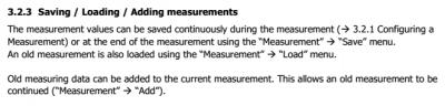 CCS30 saving loading adding measurements