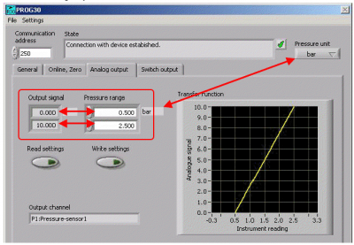 Rescaling a 30 series digital pressure sensor