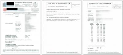 UKAS Sample Calibration Certificate