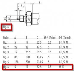M10 thread type for TS100 temperature sensor