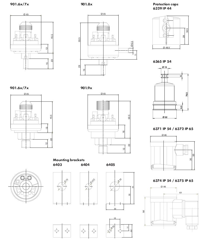 901 Prescal Mechanical Dimensions