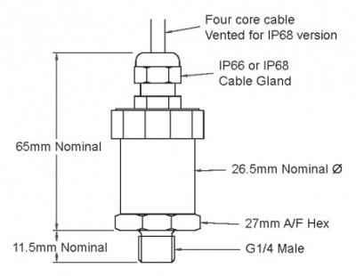 2 mH2O hydrostatic range ratiometric 0.5-4.5 volts output pressure sensor