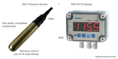 100 kPa sea water compatible pressure sender and display
