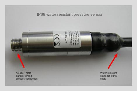 IP68 pressure sensor with 1/4 BSP male