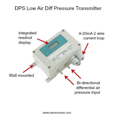 Bi-directional -20 to +100 Pascal air diff pressure transmitter