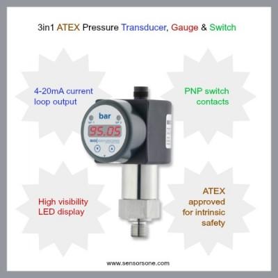 3in1 ATEX 10bar pump pressure transducer, gauge & switch