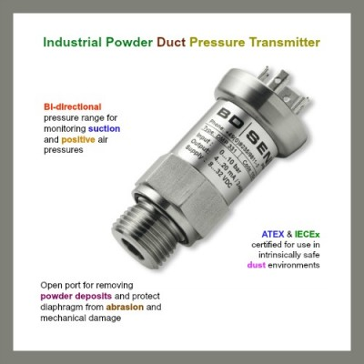 Industrial powder duct pressure transmitter with +/-15 kPa range