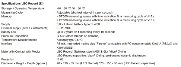 LEO Record generic specifications