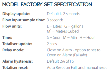 IC-FMS Factory Configured Settings