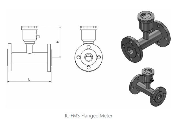 IC-FMS Flanged Flowmeter Drawing