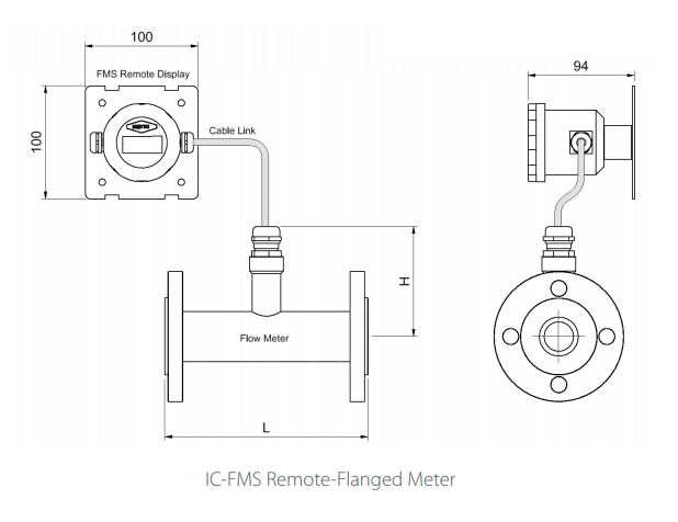 IC-FMS Remote-Flanged Flowmeter Drawing