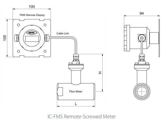 IC-FMS Remote-Screwed Flowmeter Drawing