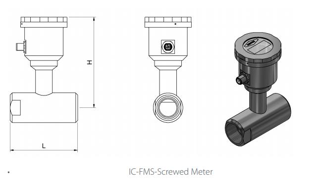IC-FMS Screwed Flowmeter Drawing