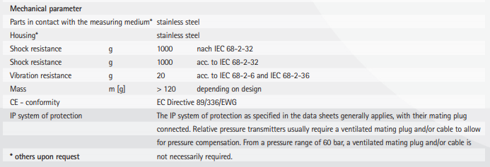 TPSE mechanical parameter specifications